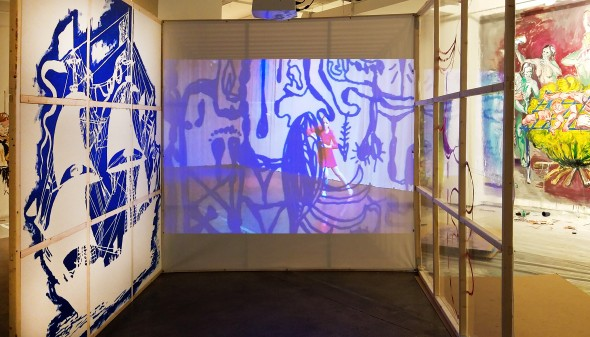 collaborative installation by Manuel Ocampo, Todd B. Richmond and Paz Tanjuaquio at Tyler Rollins Fine Art